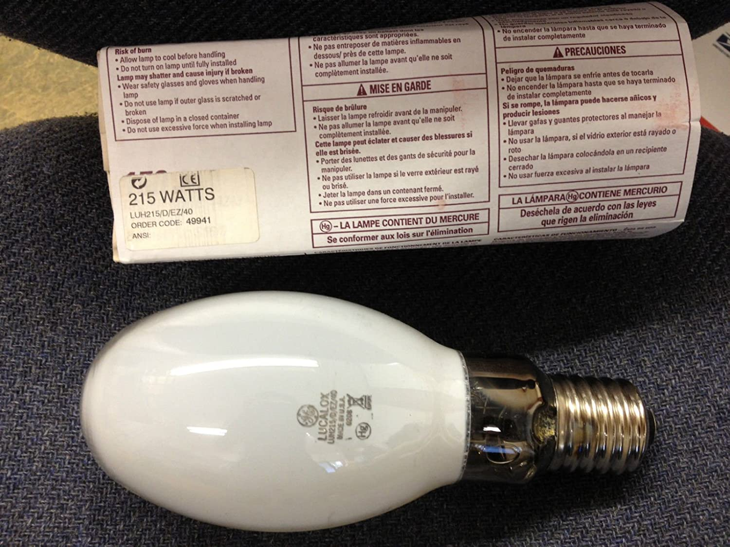 6 Pieces GE 49941 LUH215/D/Ez/40 Lucalox Lamp Hp Sodium Mercury Vapor 250 Retrofit Bulb: Amazon.com: Industrial & Scientific