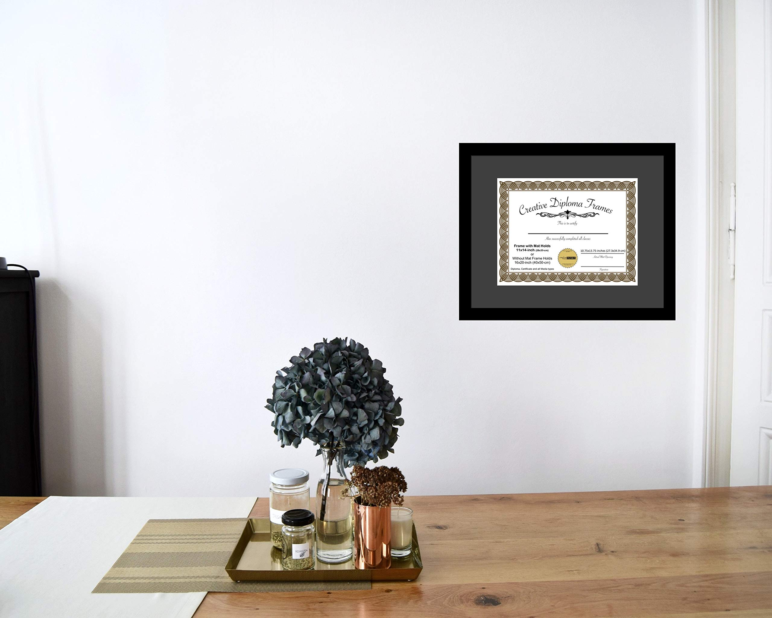 CreativePF [1620bk-b] Satin Black Large Diploma Frame with Black Mat Holds 14x17-inch Documents with Glass and Installed Wall Hanger by Creative Picture Frames (Image #4)
