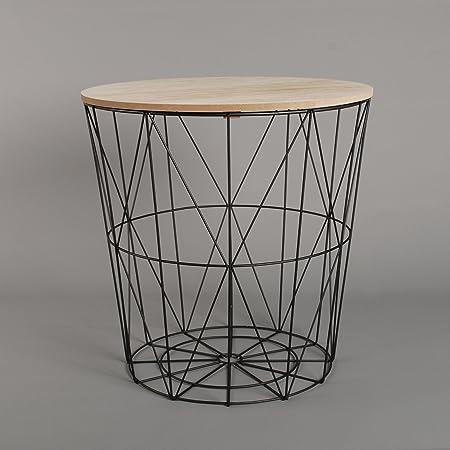 Black geometric iron metal wire round wooden top storage side black geometric iron metal wire round wooden top storage side table basket black greentooth Choice Image