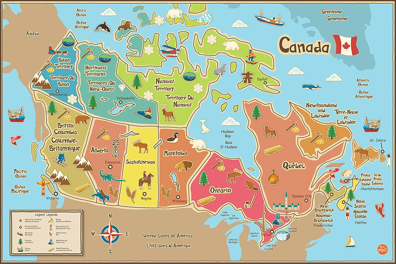 Map Of Canada For Kids Amazon.com: Wall Pops WPE1391 Kids Canada Dry Erase Map Decal