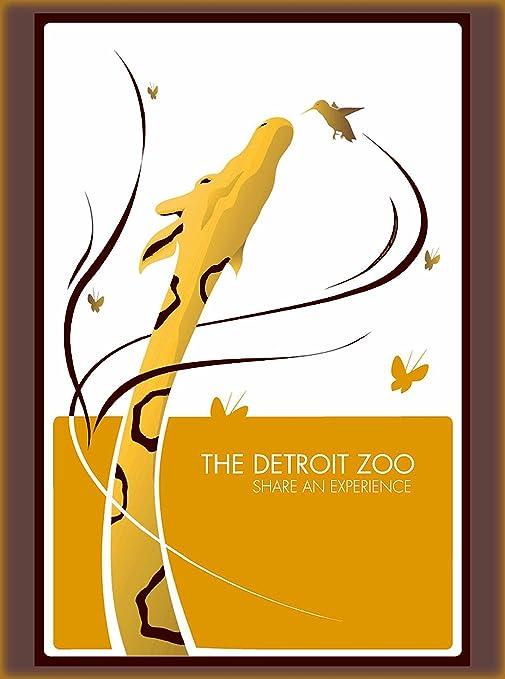 The Detroit Michigan Zoo Giraffe United States Advertisement Art Poster