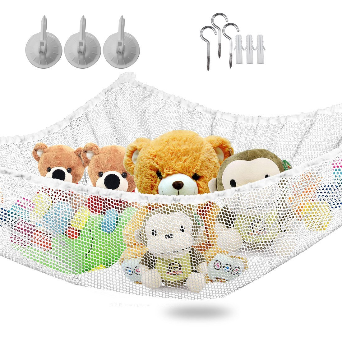 IvyH Large Toy Hammock - Stuffed Animals And Kids Toy Organizer Storage Net Hanging Corner Wall,Easy To Install,55''x35''x35''