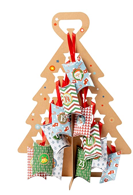 Cardboard Christmas Tree.Juvale Advent Tree Calendar Set Diy Kraft Standing Cardboard Christmas Tree Includes 24 Mini Gift Boxes Numbered Stickers Red Ribbon Large