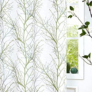 "Fmfunctex Green White Blackout Curtain Panels for Bedroom Kids Room 84"" Grey Tree Print Thermal Window Curtains with Liner Branch Curtain Set for Living Room,50"" x 1 Panel Width Grommet Top"