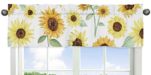 Sweet Jojo Designs Yellow, Green and White Sunflower Boho Floral Window Treatment Valance – Farmhouse Watercolor Flower
