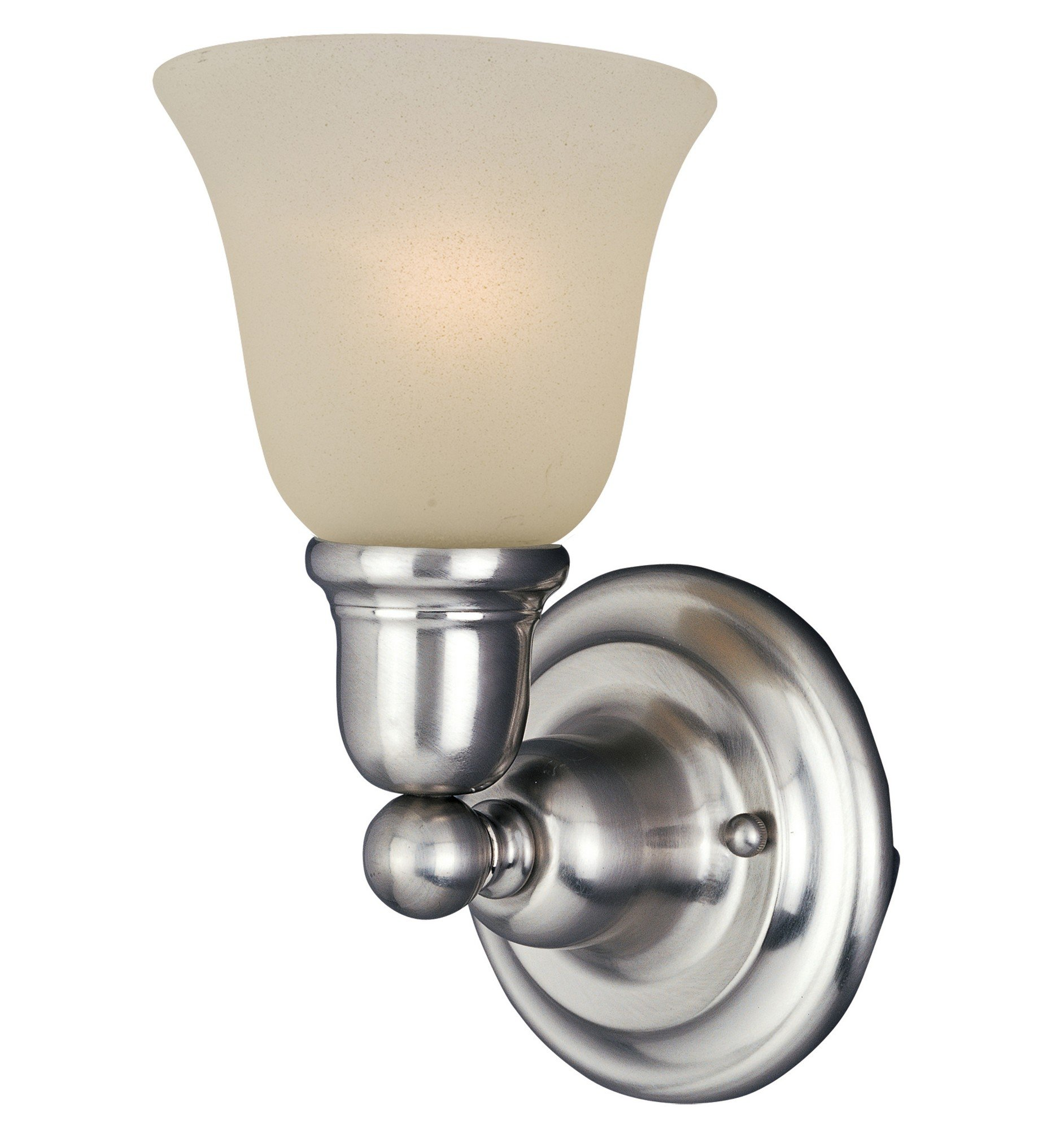 Maxim 11086SVSN Bel Air 1-Light Wall Sconce Bath Vanity, Satin Nickel Finish, Soft Vanilla Glass, MB Incandescent Bulb , 100W Max., Dry Safety Rating, Standard Dimmable, Glass Shade Material, 2300 Rated Lumens