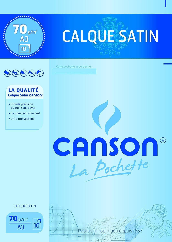 Canson Pochette 200017151 Papier calque A3 29, 7 x 42 cm 10 feuilles Translucide