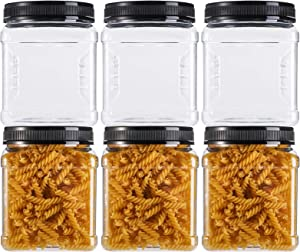 Lawei Square Plastic Jars with Lids - Clear Empty Storage Containers for Food Storage, Plastic Food Jars with Easy Grip Handles for Dry Goods Cookies Rice and More (6 Pack 50 Oz)