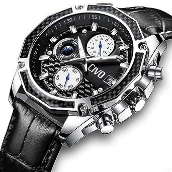 f27a77fa78 [チーヴォ]CIVO 腕時計 メンズレザーウオッチブラック クロノグラフ防水 日付カレンダーアナログクオーツ