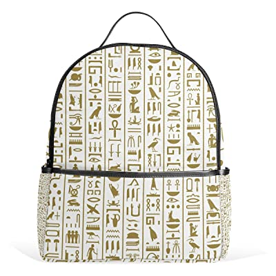50%OFF LORVIES Ancient Egyptian Hieroglyphs Lightweight Canvas Kids School Backpack Book Bag for boys girls