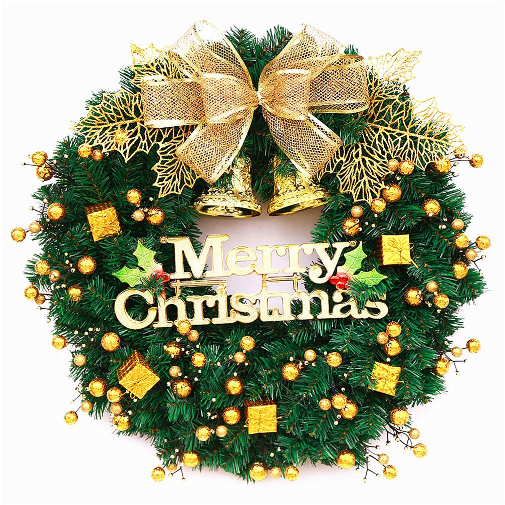 Mynse 15.7'' Artificial Pine Branch Christmas Wreath for Front Door Mall Window Hotel Christmas Decoration Christmas Ball Wreath Golden and Green by Mynse (Image #1)