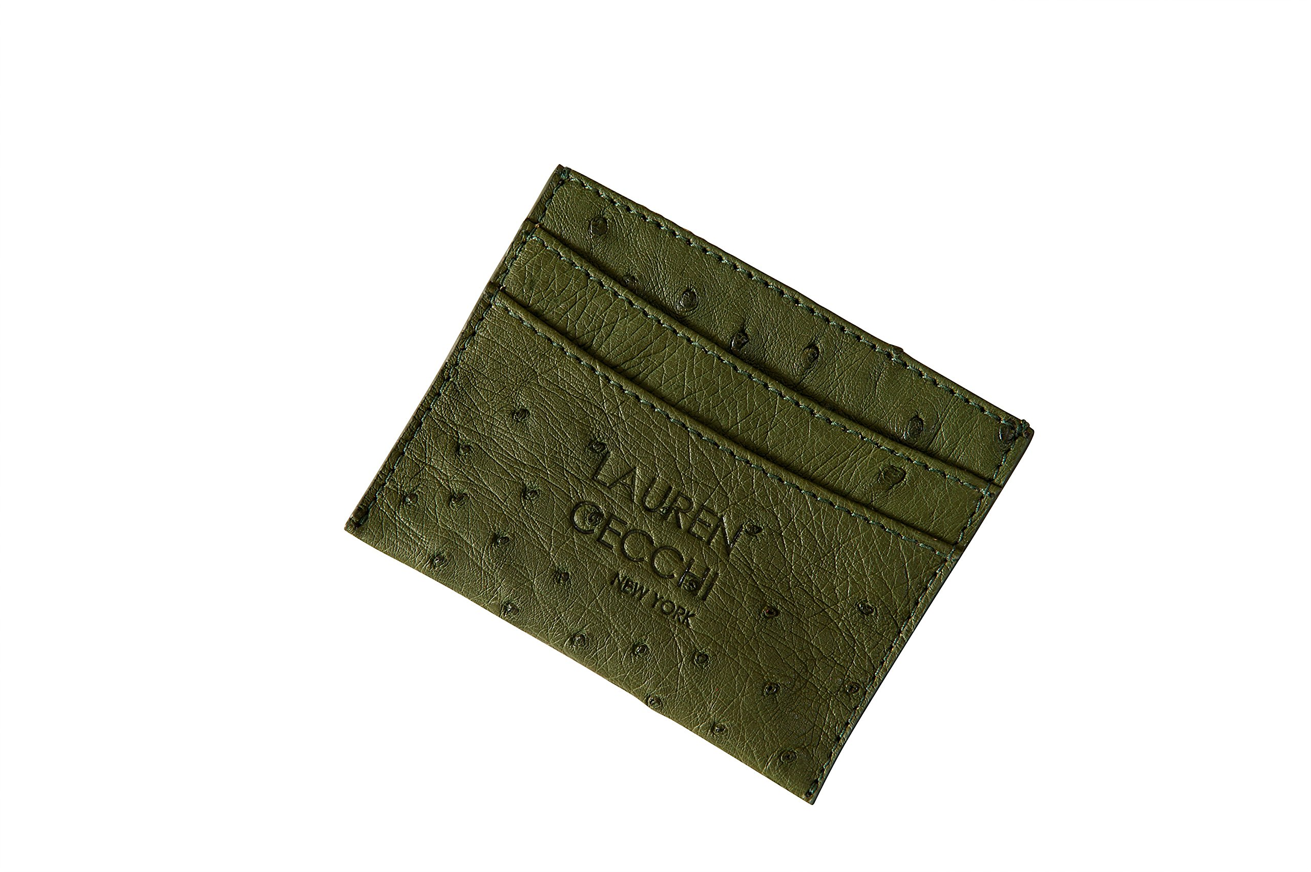 Credit Card Holder - Ostrich Leather Credit Cardholder - Lauren Cecchi New York Ostrich Leather Credit Cardholder For Credit Cards Money And ID-Army Green