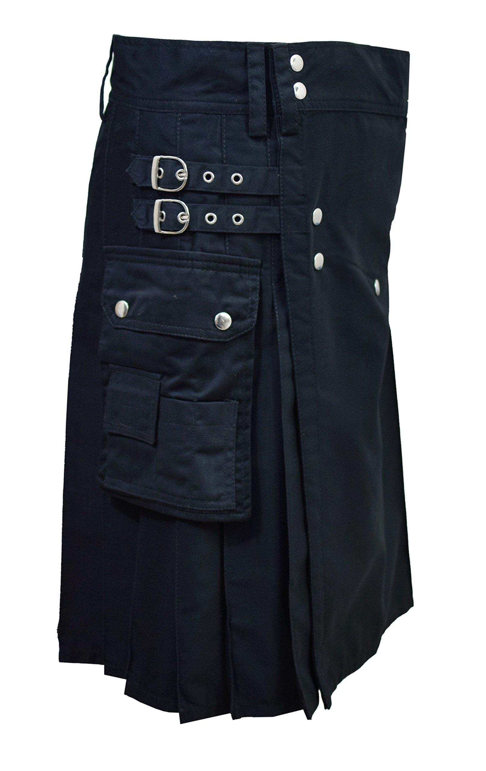 SHYNE Men's Black Fashion Sport Utility Kilt Deluxe Kilt Adjustable Sizes Pocket Kilt (38'') by SHYNE (Image #2)