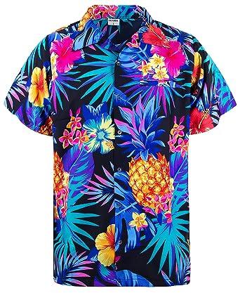 c2a26c3c97cb King Kameha Funky Hawaiian Shirt Men Shortsleeve Frontpocket ...