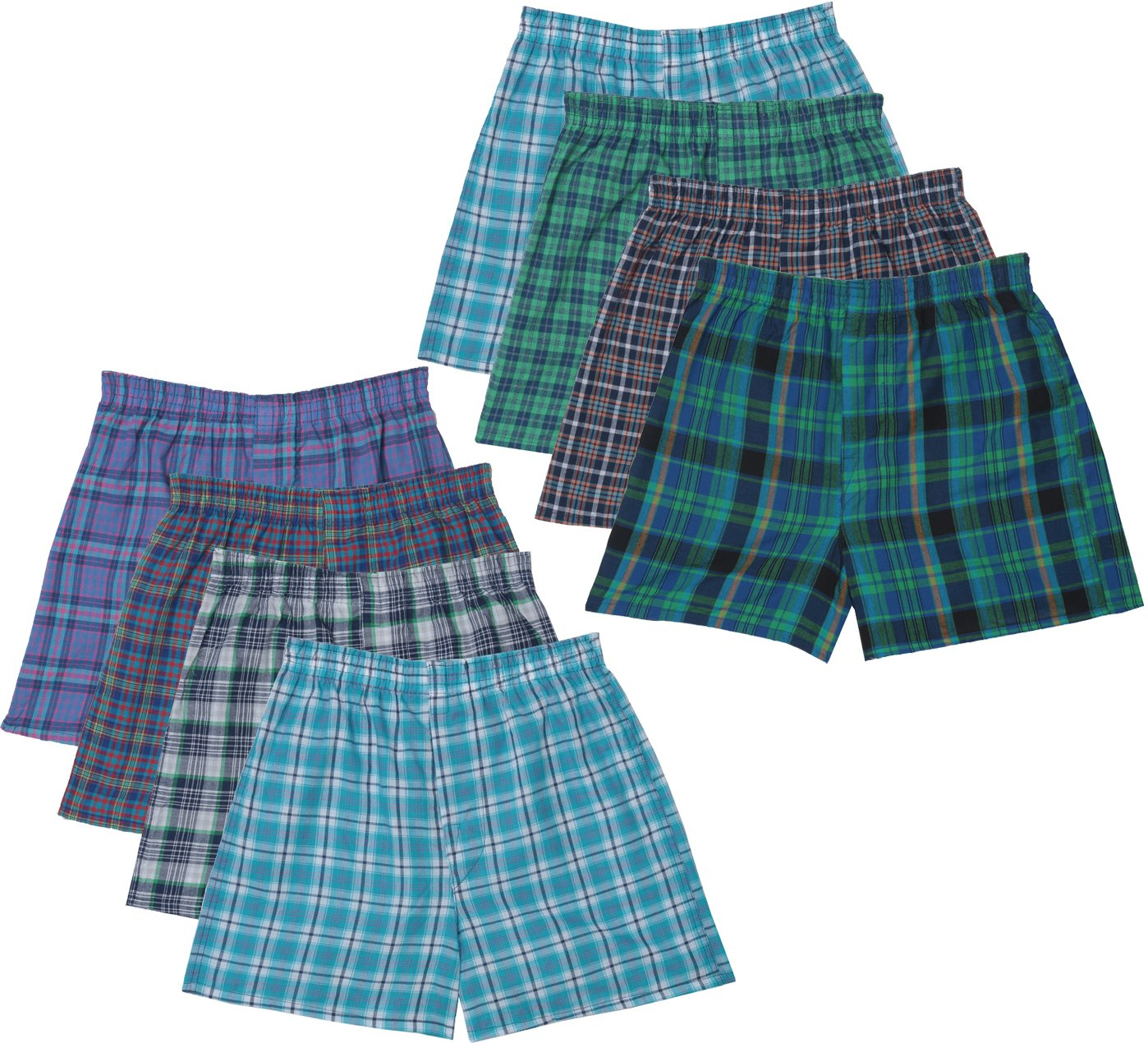 Fruit of the Loom Boys' Plaid Boxer 8 Pack, Assorted, Large
