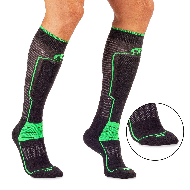 Unisex per Uomo e per Donna Sportivi MICO CALZE SKI PERFORMANCE con Maglia in Micotex Lycra medium weight 100/% Made in Italy in Colore Nero Verde Fluo