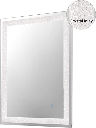 MAGGIIC Crystal Inlay 24 x 32 Inch Horizontal Vertical LED Dimmable Bathroom Wall Mounted Mirror Makeup Mirror Anti-Fog IP44 Waterproof CRI 90 UL Listed