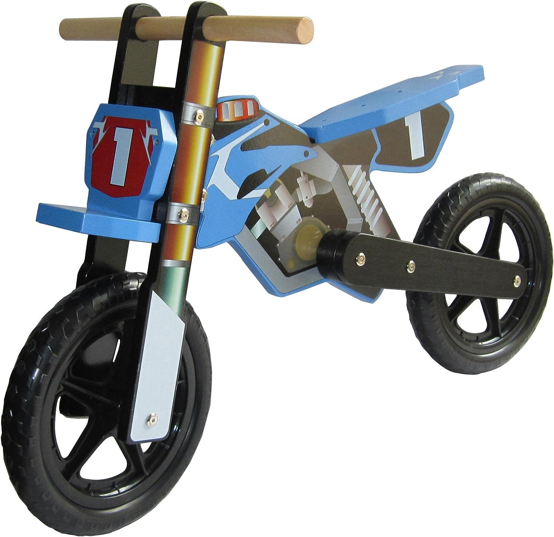 Dunjo® Bicicleta Infantil de Madera, Moto Cross Pro Azul