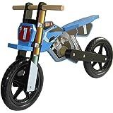 Dunjo® Bicicletta Cross PRO Senza Pedali in Legno, Blu, Seduta 40 cm e Manubrio Confort