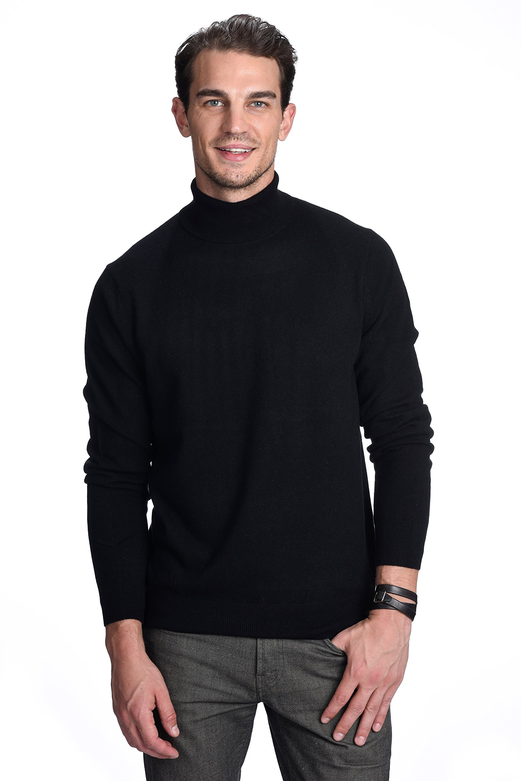 State Cashmere Men's 100% Pure Cashmere Turtleneck Long Sleeve Pullover Sweater (X-Large, Black)