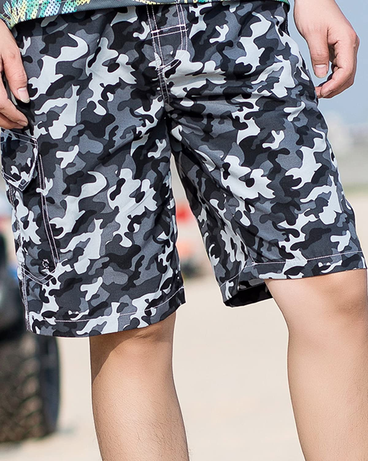 MACHLAB Mens Camouflage Printing Quick Dry Beach Board Shorts Swim Trunks