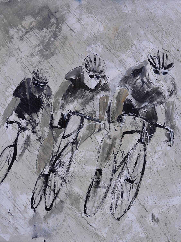 Artland Qualitätsbilder I Bild auf Leinwand Leinwandbilder Wandbilder 45 x 60 cm Sport Funsport Malerei Grau C0MG Fahrrad Fahren im Regen