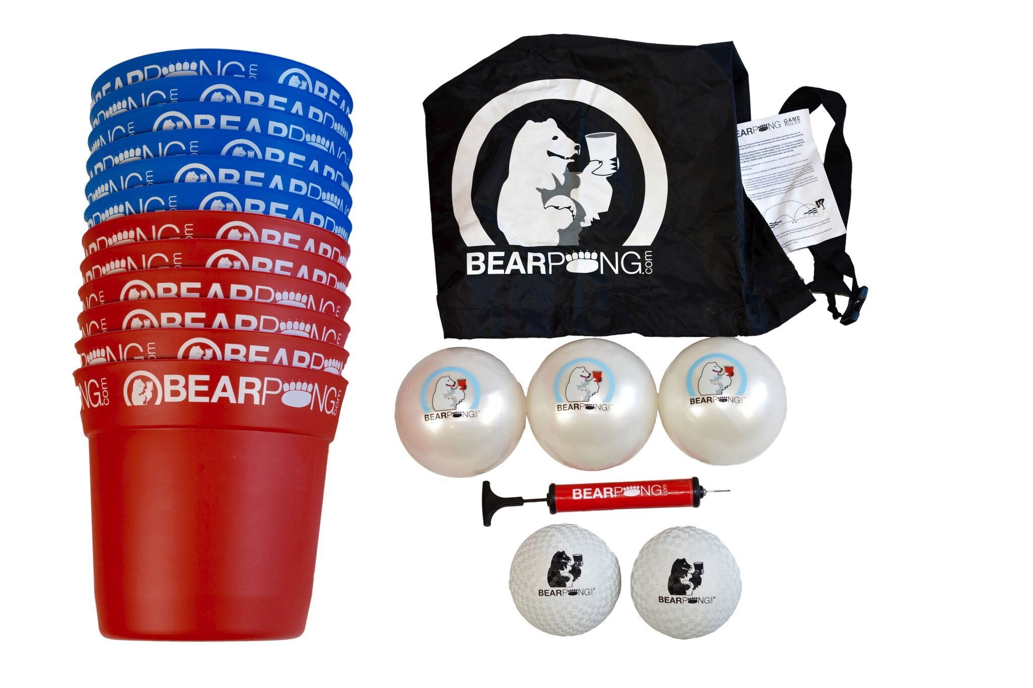 Bearpong Blue and Red Deluxe Game Set: 6 BEARPONG Red and 6 BEARPONG Blue Buckets, 3 BEARPONG Balls, 2 Beach Balls, 1 Ball Pump with Carrying Case, and instructions by Bear Pong