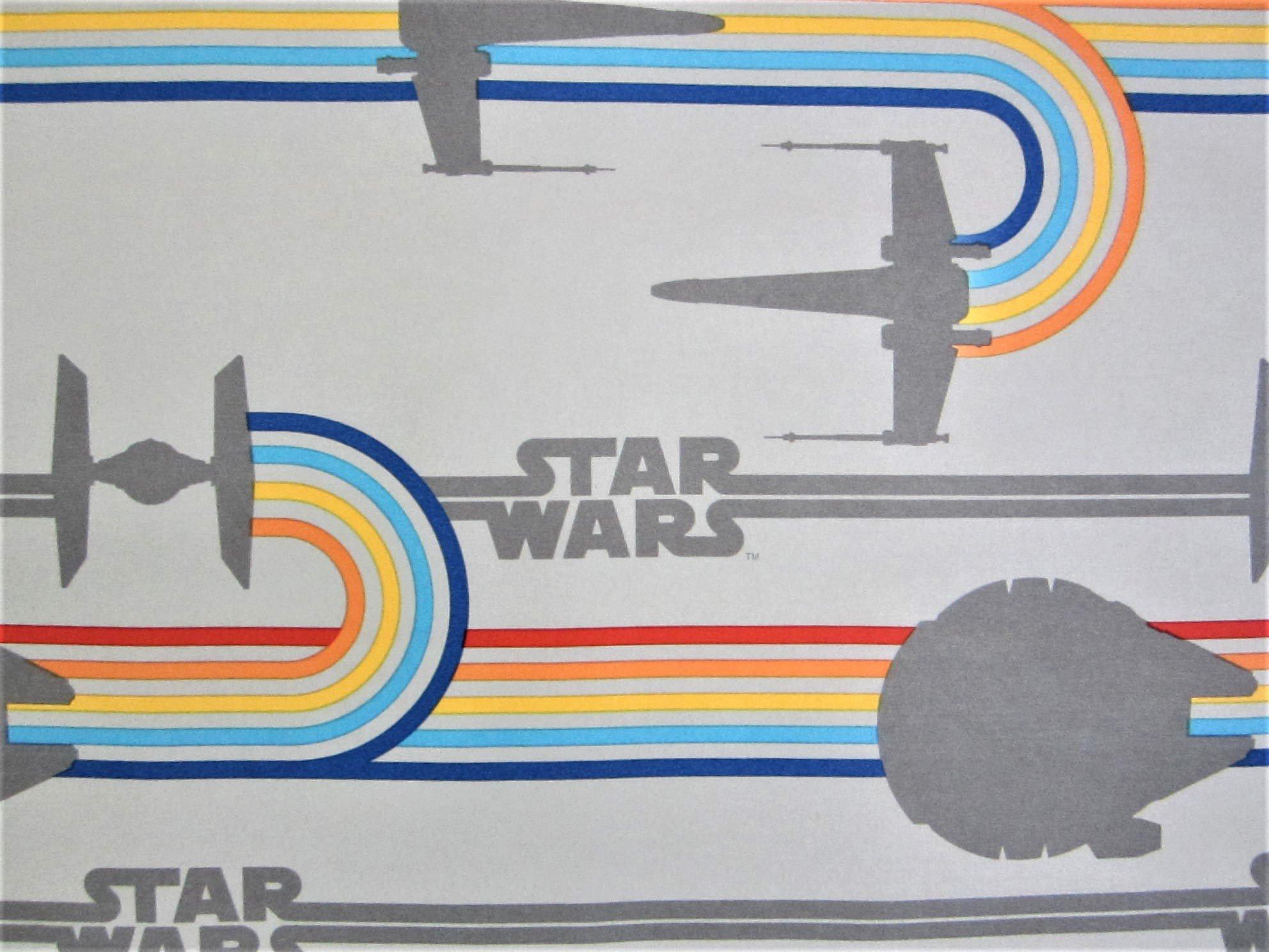 Star Fighter Logo Star Wars 100% Polyester (FLAT SHEET ONLY) Size FULL Boys Girls Kids Bedding