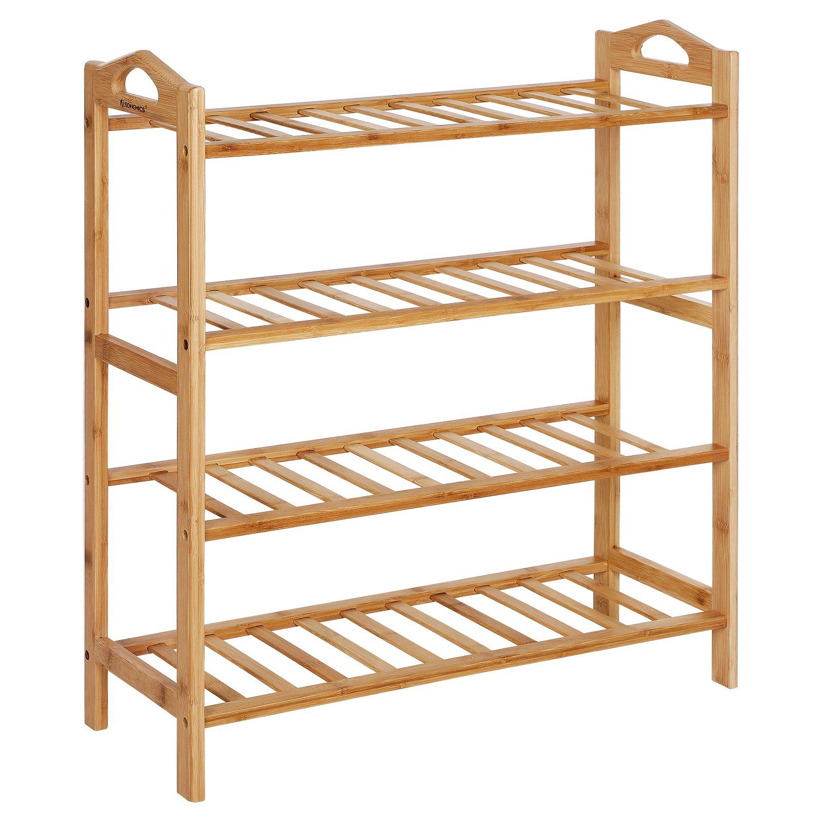 SONGMICS Bamboo Wood Shoe Rack 4-Tier 12-16 Pairs Entryway Shoe Shelf Storage Organizer ULBS94N