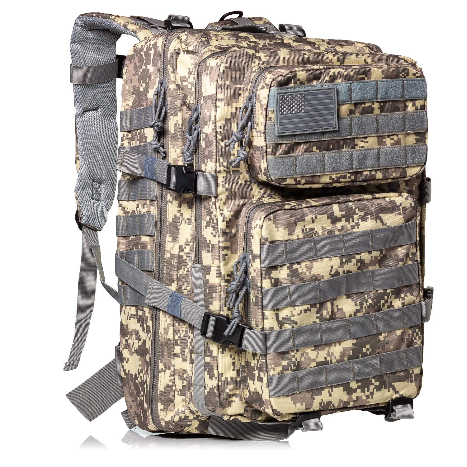 XFinder MilitaryTactical Backpack Large Assault Pack 3 Day Army Rucksacks  Outdoor Hunting Backpacks with Tactical USA Flag Patch 638b6ddeee701