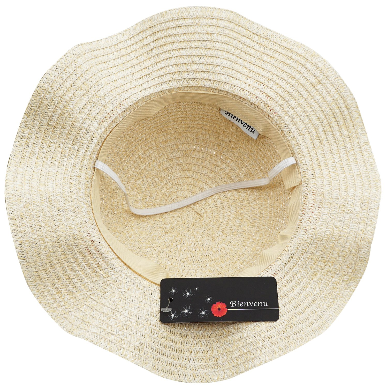 Bienvenu Sun Straw Hat Kids Girls Large Wide Brim Travel Beach Beanie Cap,Beige by Bienvenu (Image #8)