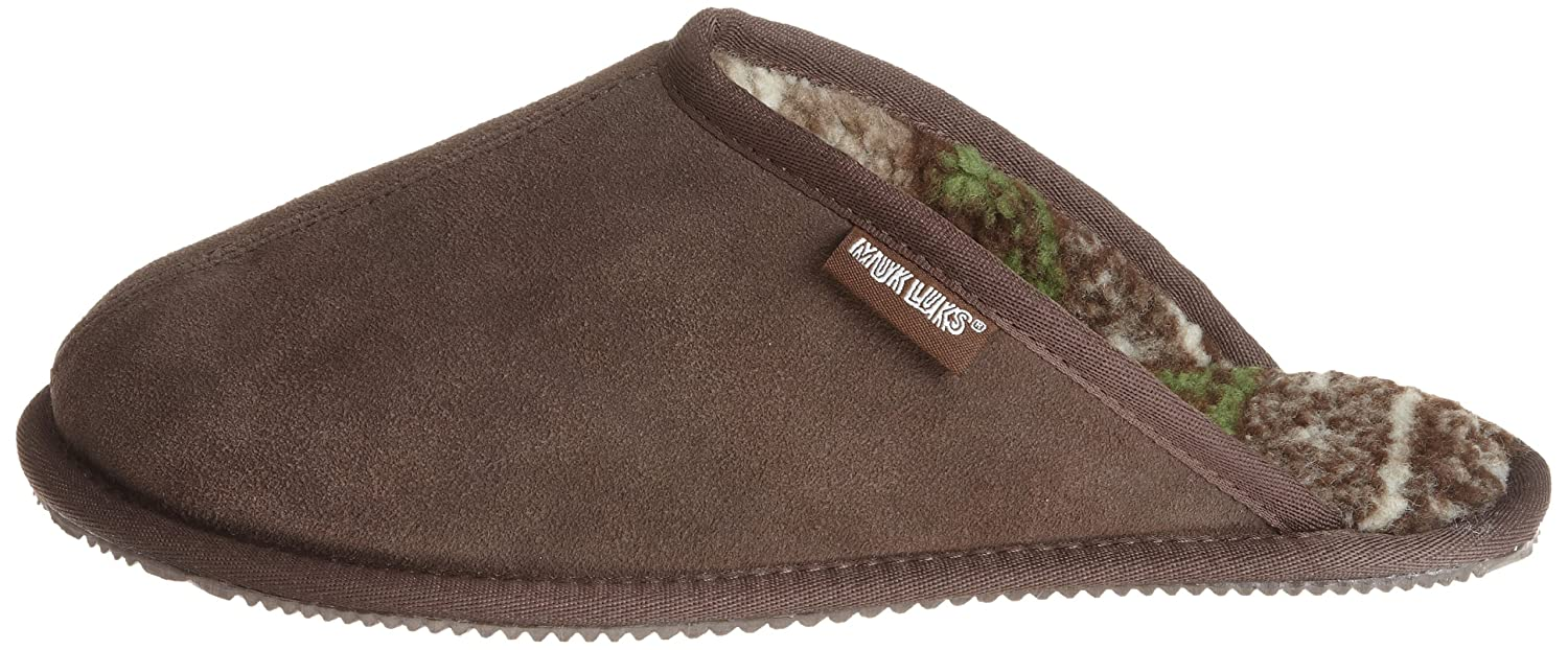 85283750824 MUK LUKS Dave - Men's Printed Berber Suede Scuff- Brown Slipper