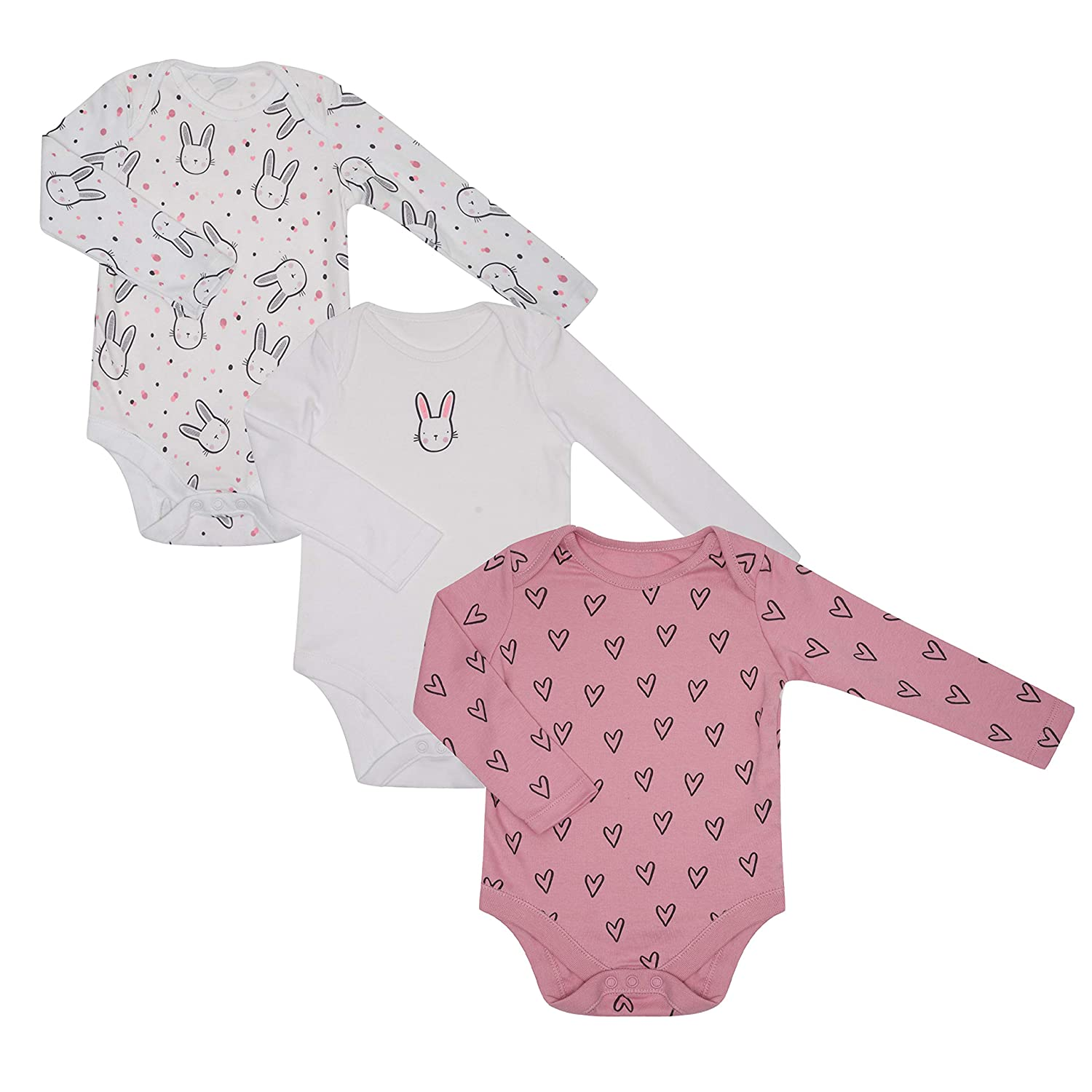 Baby Girls Ex Store Body Suits 3 Pack Body Vests Bunny Set Long Sleeved 100/% Cotton