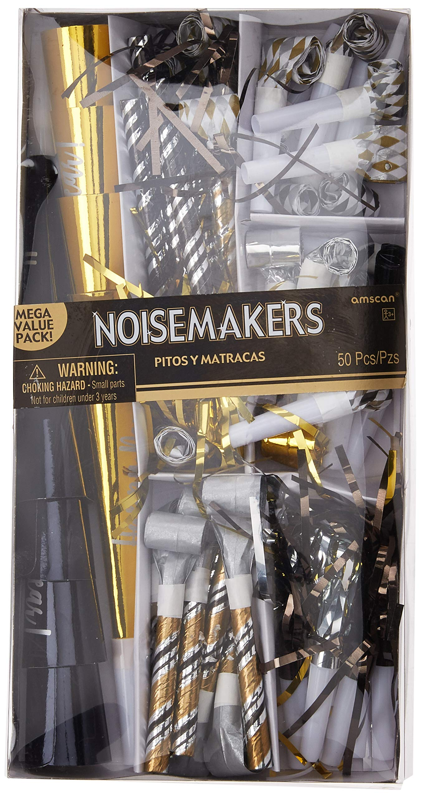 Amscan Black, Gold and Silver New Year's Eve Party Horns & Blowouts, NYE Party Supplies, 50 Pieces by amscan