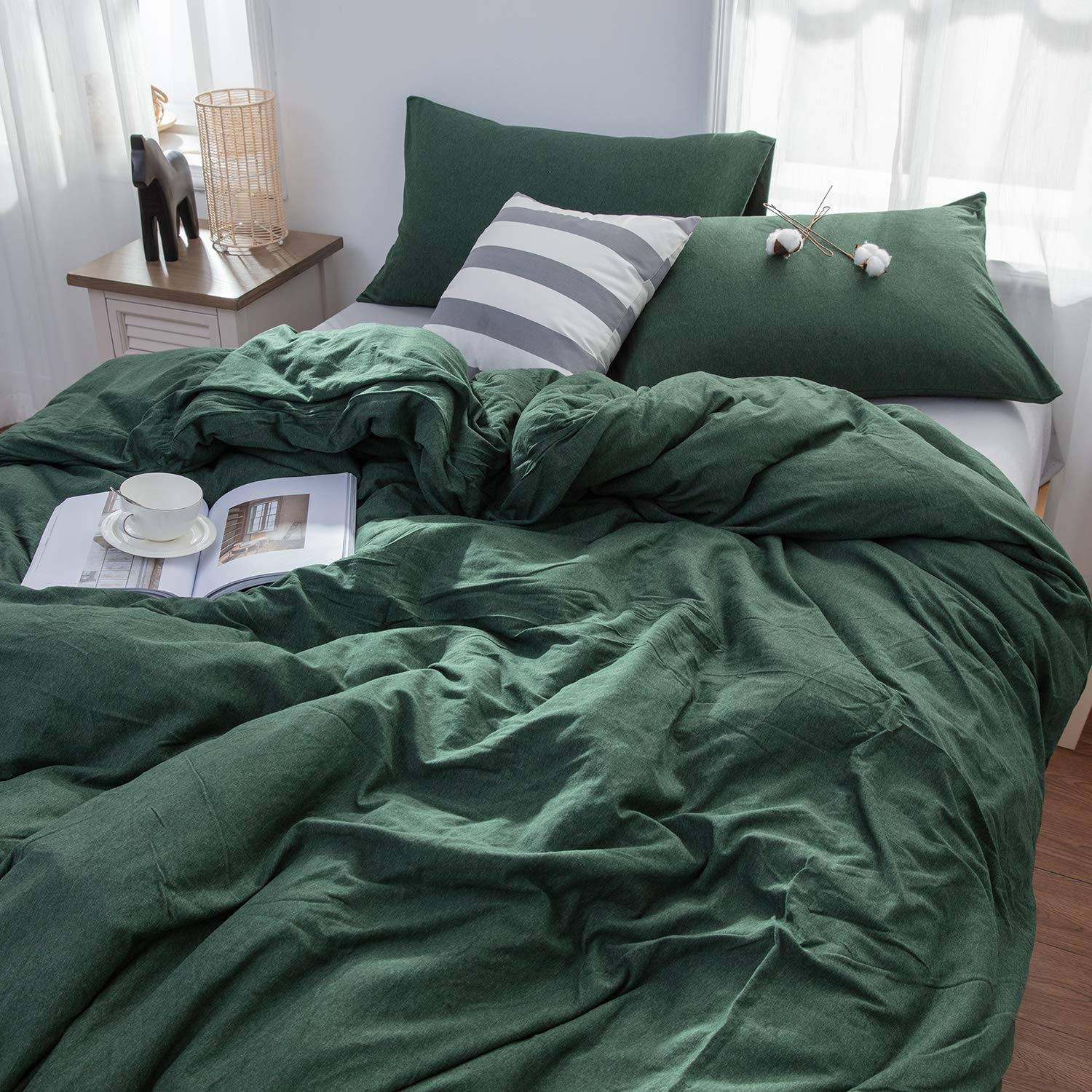 LIFETOWN Green Duvet Cover, Jersey Knit Cotton Duvet Cover Set 3 Pieces, Simple Solid Design, Super Soft and Easy Care (Full/Queen, Dark Green) by LIFETOWN (Image #3)