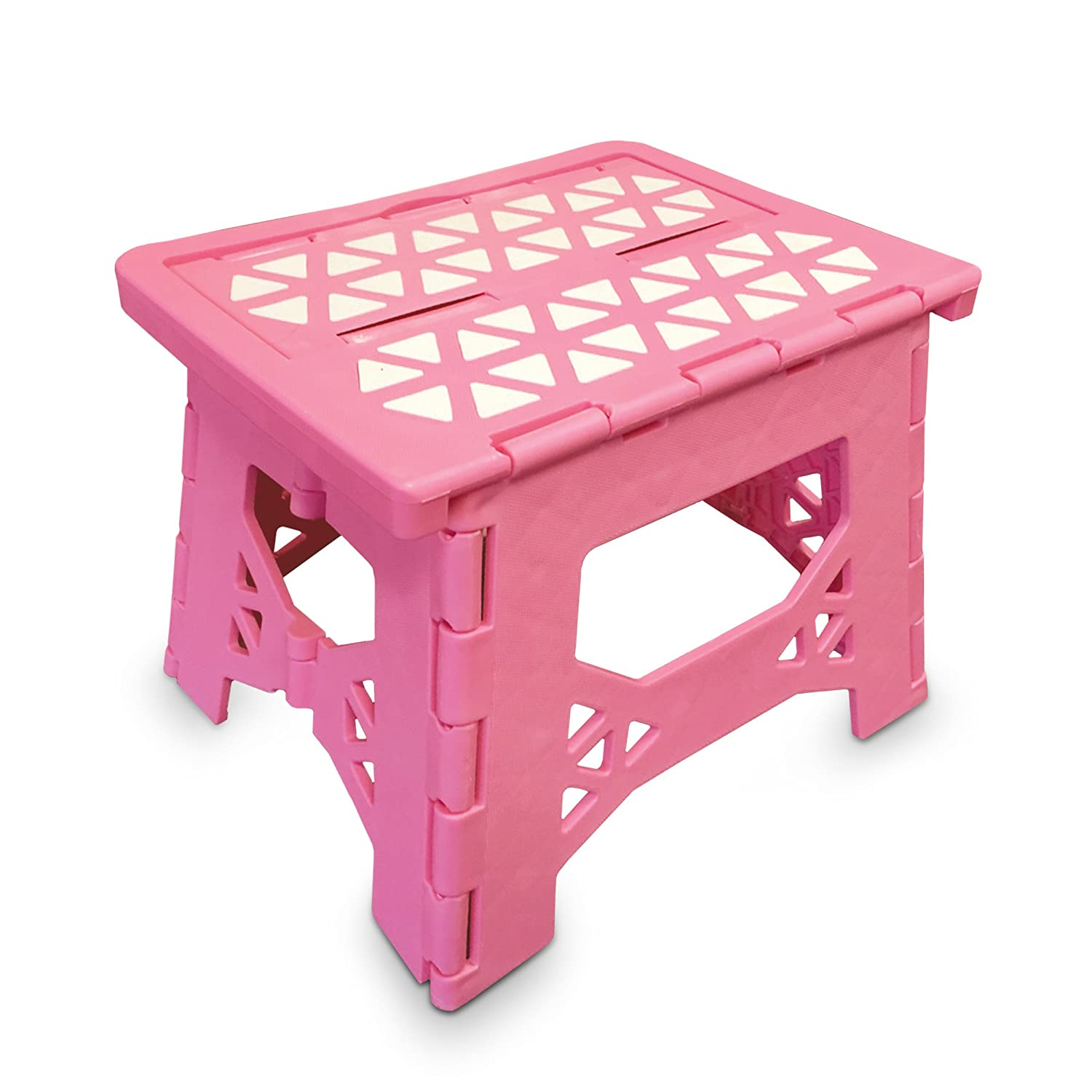 Bula Baby Folding Step Stool For Kids - New Safe Locking System and Non Slip Feet Grip - Pink
