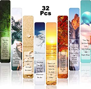 32 Pieces Nature Inspirational Magnetic Bookmarks Beautiful Magnetic Page Markers Page Clips Bookmarks with Famous Sayings for Students Teachers School Home Office Supplies