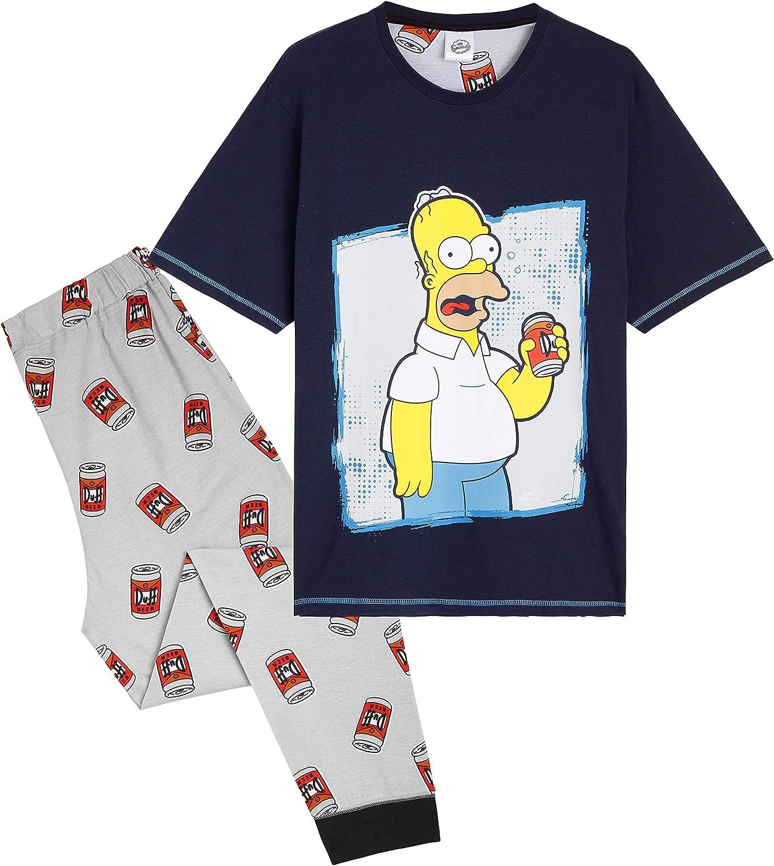 Idee Regali Divertenti Pigiami Due Pezzi in Cotone con Maglietta Simpatica Homer E Pantaloni Lunghi Abbigliamento Merchandise Ufficiale Simpson Pigiama Uomo
