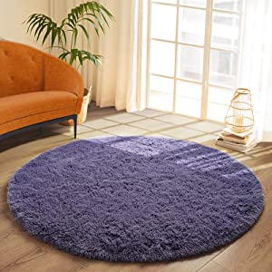 DETUM Soft Round Fluffy Bedroom Rugs for Girls Boys, Fuzzy Circle Area Rug for Nursery Playing Reading Room, Kids Room Carpets Shaggy Cute Rugs for Dorm Bedside Home Décor, 4 Feet, Gray-Purple