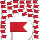 30 Stück Markierungsfahnen - ROT - Markierungsfähnchen für Pinnwand u. Weltkarten-Landkarten