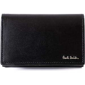 (ポール・スミス) Paul Smith カラーバンド 本革 名刺入れ ショップバッグ付き ポールスミス レザー カードケース (ブラック)