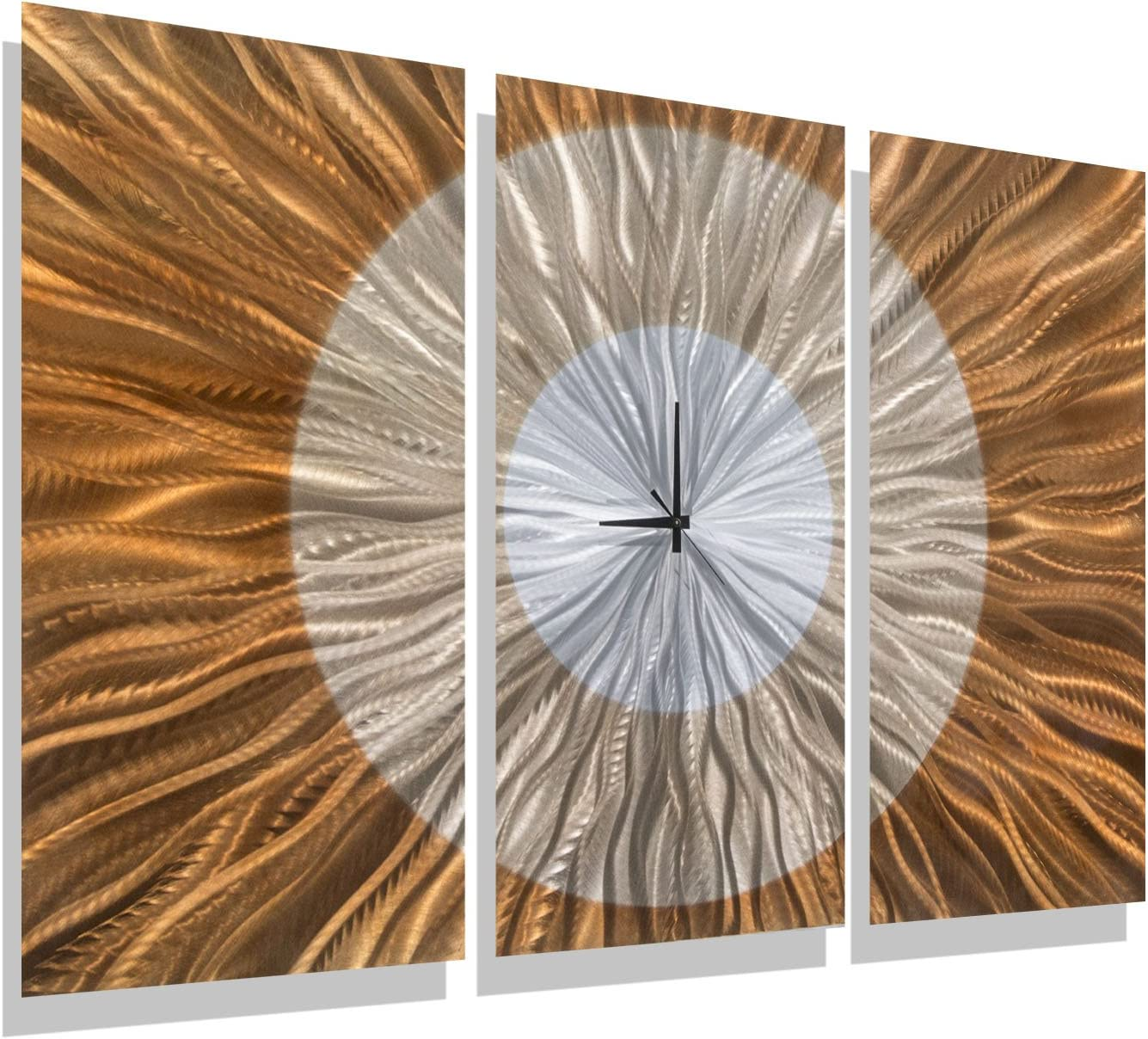 Statements2000 Large Contemporary Wall Clock with Orange, Gold and Amber Jewel Tone Fusion - Modern Metal Wall Art Home Accent - Hanging Wall Clock - Afterglow Clock by Jon Allen - 38-inch