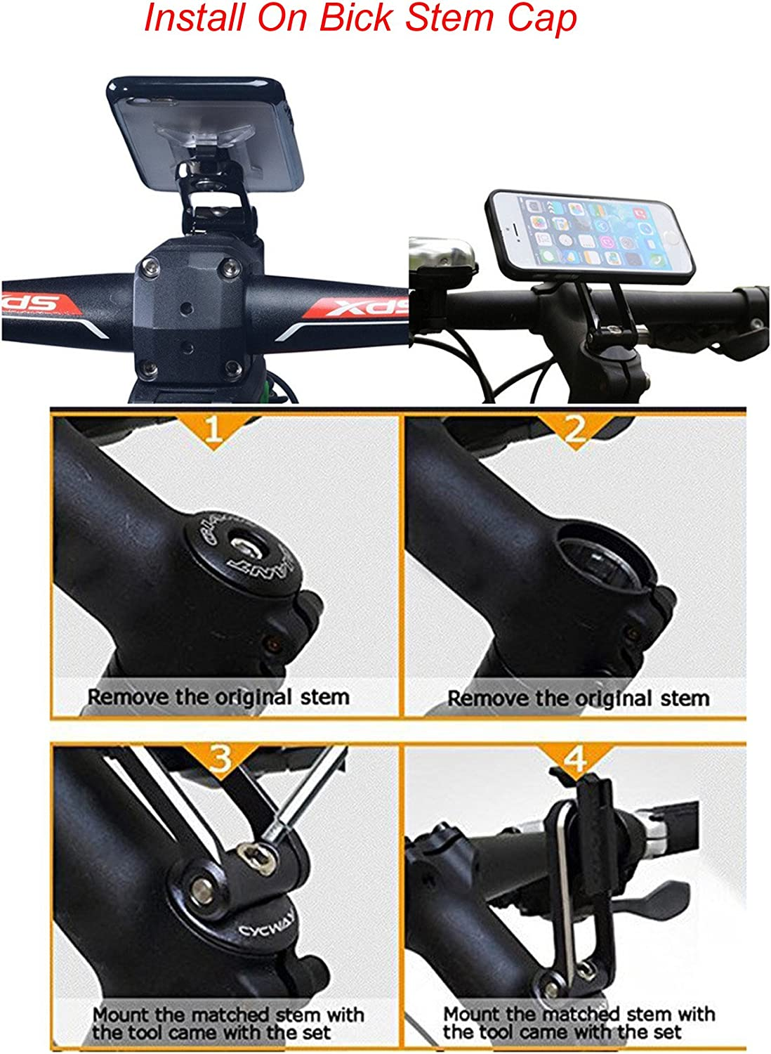 2017 Version 4.7 2016 iPhone 7 /& iPhone 8 Bike Phone Mount with Riding Case,Mountain Bike,Bicycle Stemcap Cell Phone Holder Cradle with Riding Cycling Case for Apple iPhone 7 /& iPhone 8