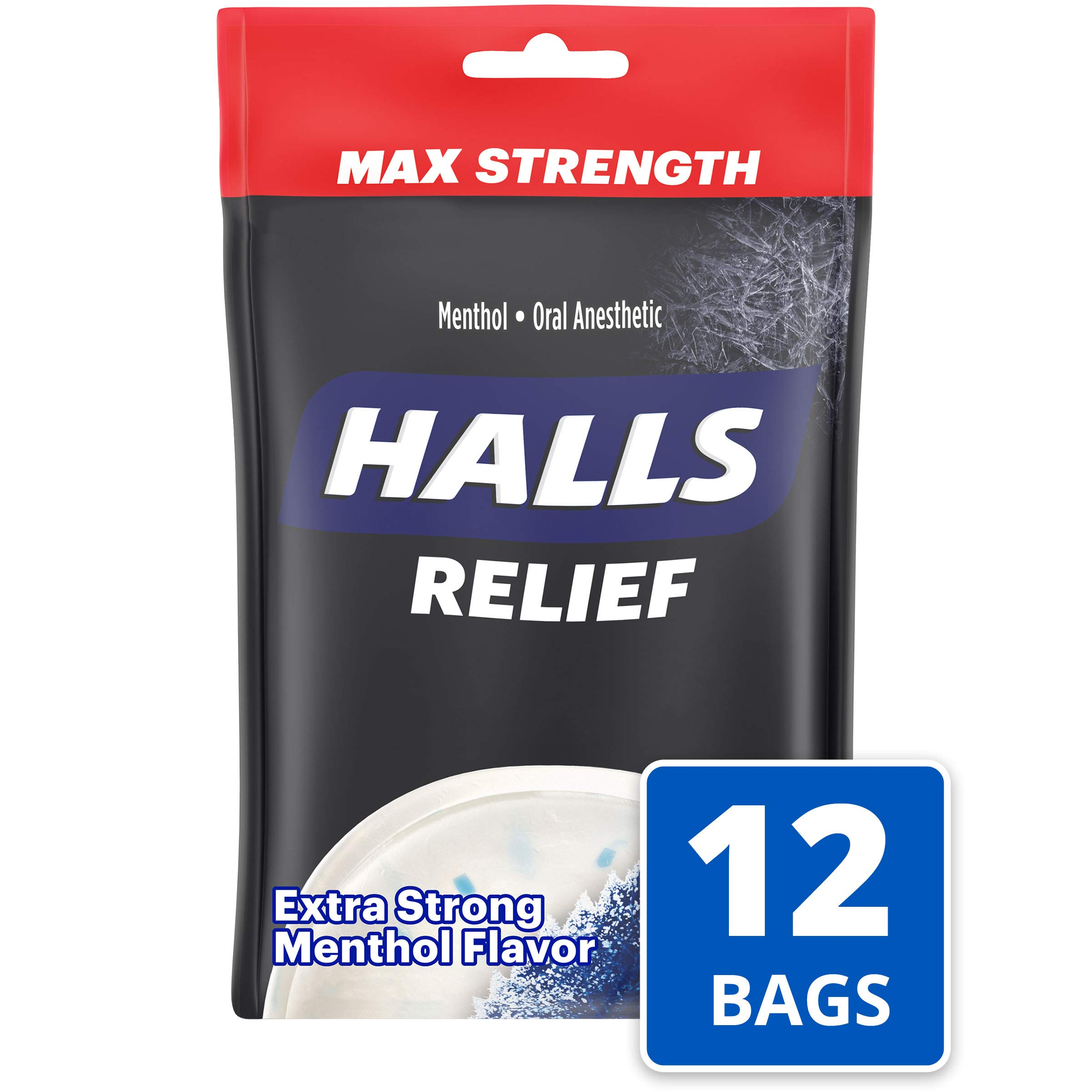 Halls Extra Strength Intense Cool Cough Drops - with Menthol - 360 Drops (12 bags of 30 drops) by Halls