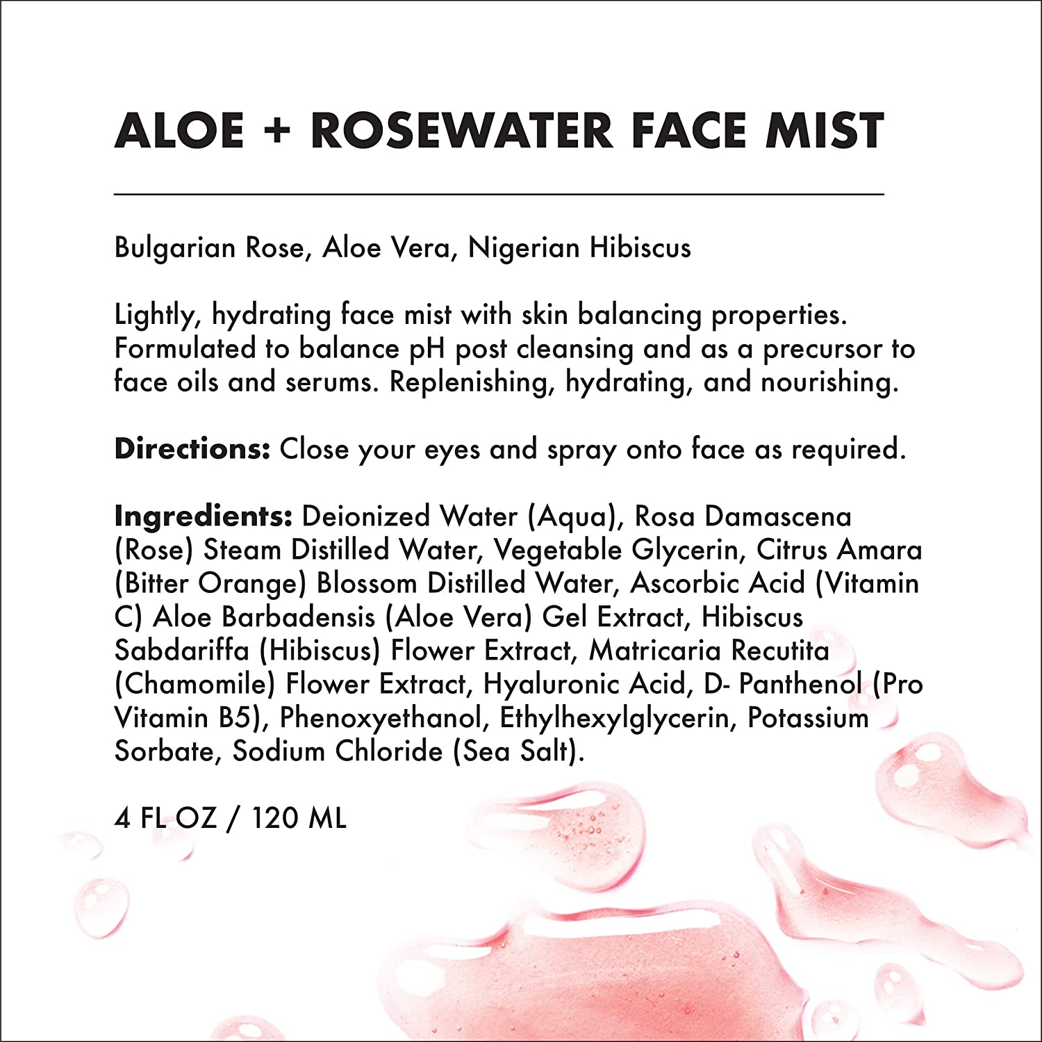 Provence Beauty Aloe Rosewater – Balancing, Refreshing Soothing Facial Mist – Infused with Bulgarian Rose, Aloe Vera, Nigerian Hibiscus – 4FL OZ