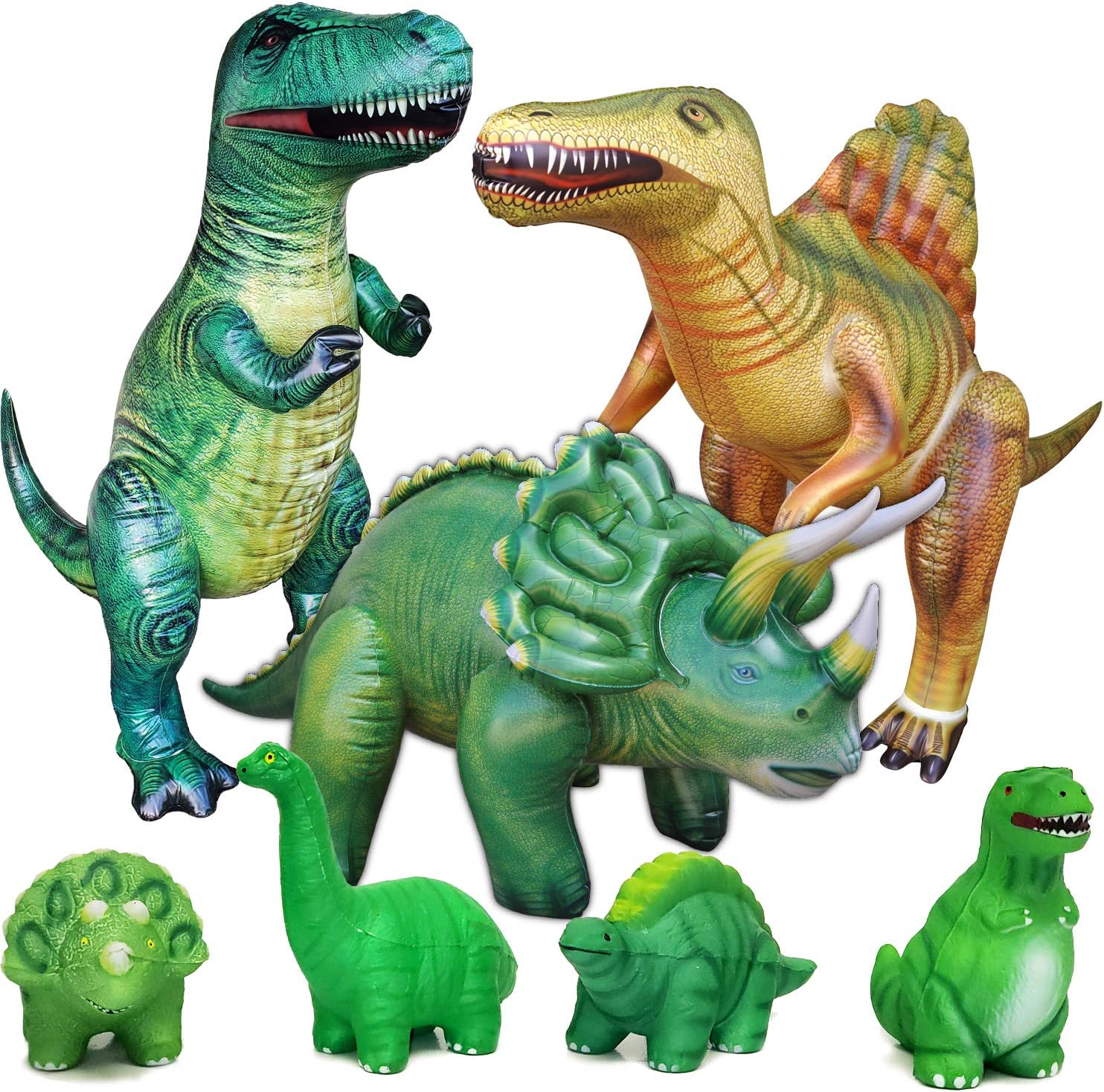 Jet Creations 7-pk Dinosaur Party Bundle Include Inflatable Trex Triceratops Spinosaurs, 4 Squishy Dinosaurs. Party Supplies Party Favors Birthday Home After School Toys for Boys and Girls 3+ years. JC-D3000