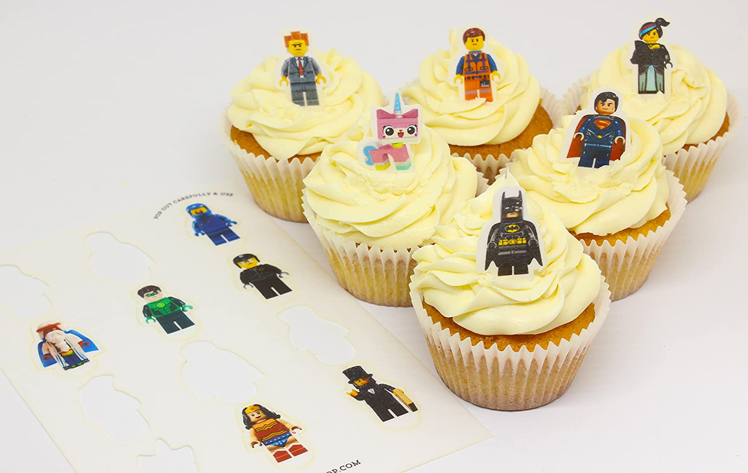 Cakeshop 12 x PRE-CUT Lego Movie Stand Up Edible Cake Toppers ...