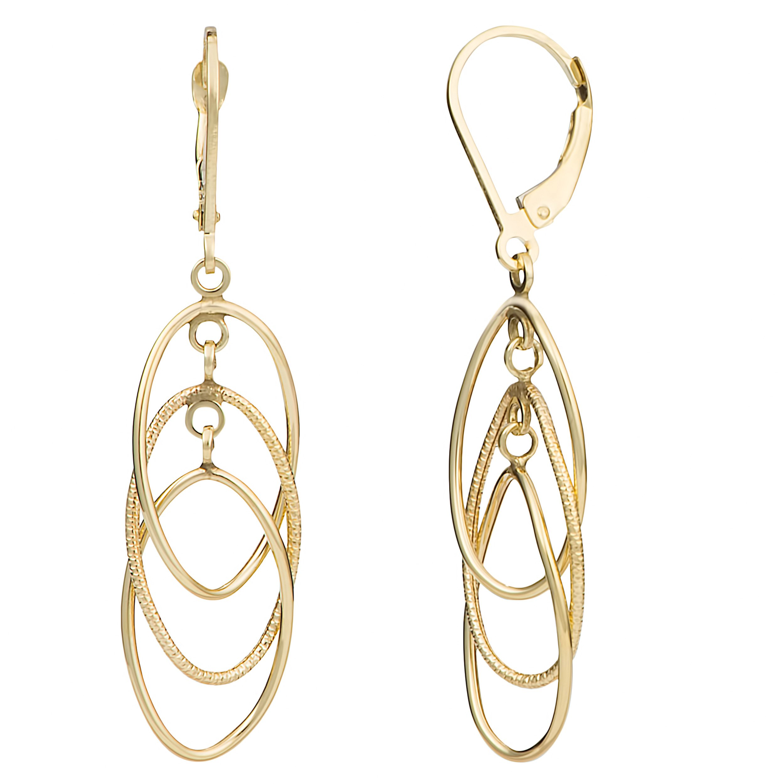 14k Yellow Gold Interlocking Ovals Leverback Earrings