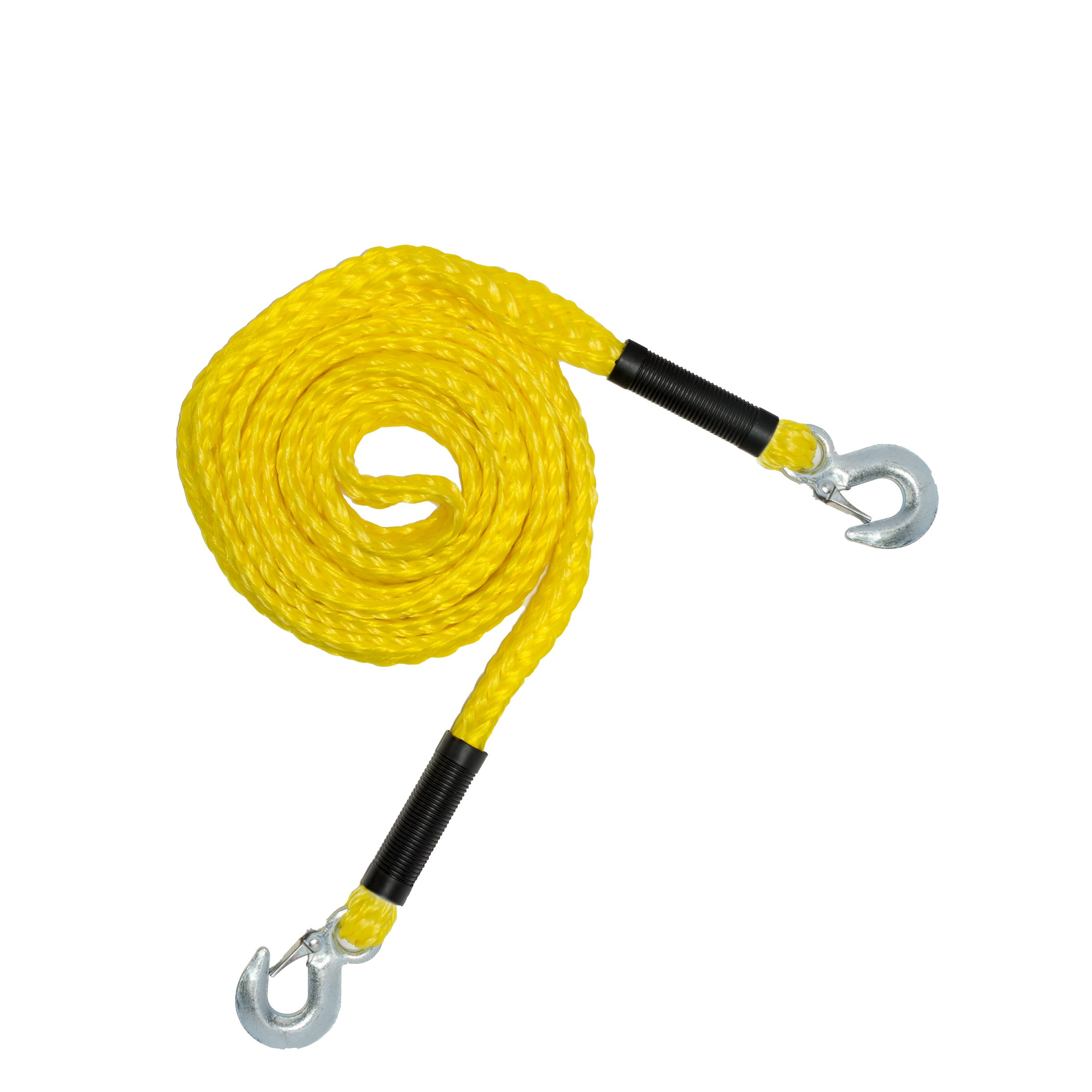 RPS Outdoors Yellow 14' SI-2034 Recovery Tow Rope (4,500 lb. Break Strength) with Safety Steel Forged Hooks (14 Ft. x 1.25 in.) by RPS Outdoors