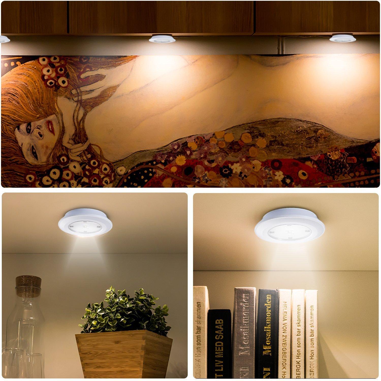 LED táctil, Funciona con pilas 5 Luz de noche Cualquier Vestíbulo, Sótano, Garaje, Baño, Armario, Cocina, Escaleras, Luz de Pared con Almohadillas Adhesivas ...